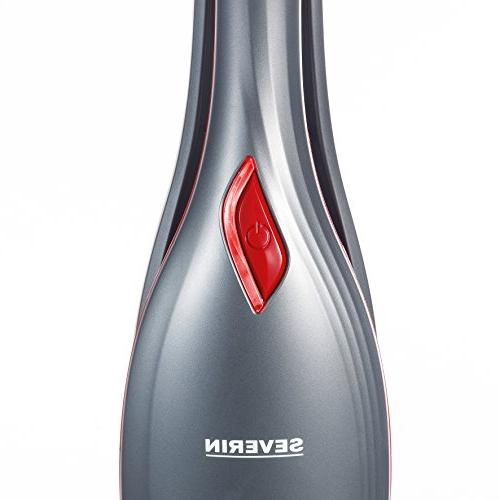 Severin 2-in-1 Cordless Rechargeable Bagless Cleaner Detachable - Brush & Crevice Tools, Red/Platinum