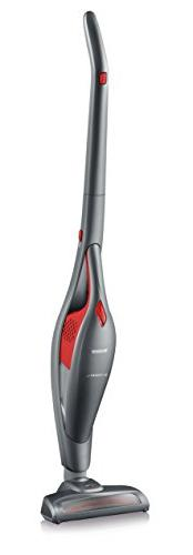 Severin 2-in-1 Rechargeable Cleaner - Includes Crevice Tools, Red/Platinum Grey